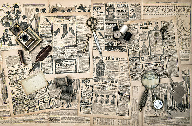 sewing and writing tools, vintage fashion magazine antique accessories, sewing and writing tools, vintage fashion magazine for the woman. retro style toned picture edwardian style stock pictures, royalty-free photos & images