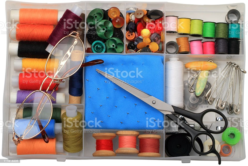 Sewing at home and glasses royalty-free stock photo
