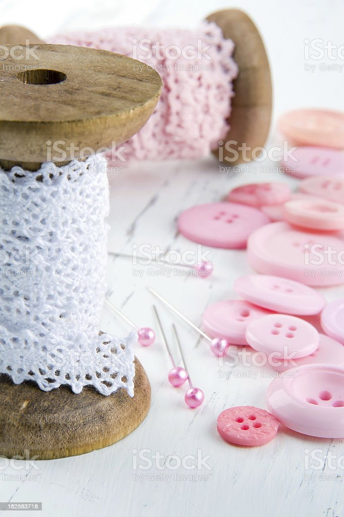 Sewing background with buttons and lace royalty-free stock photo