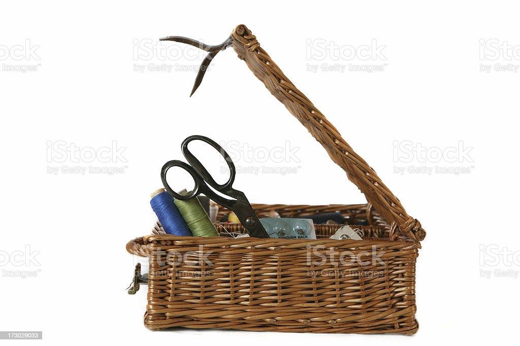 sewing basket stock photo