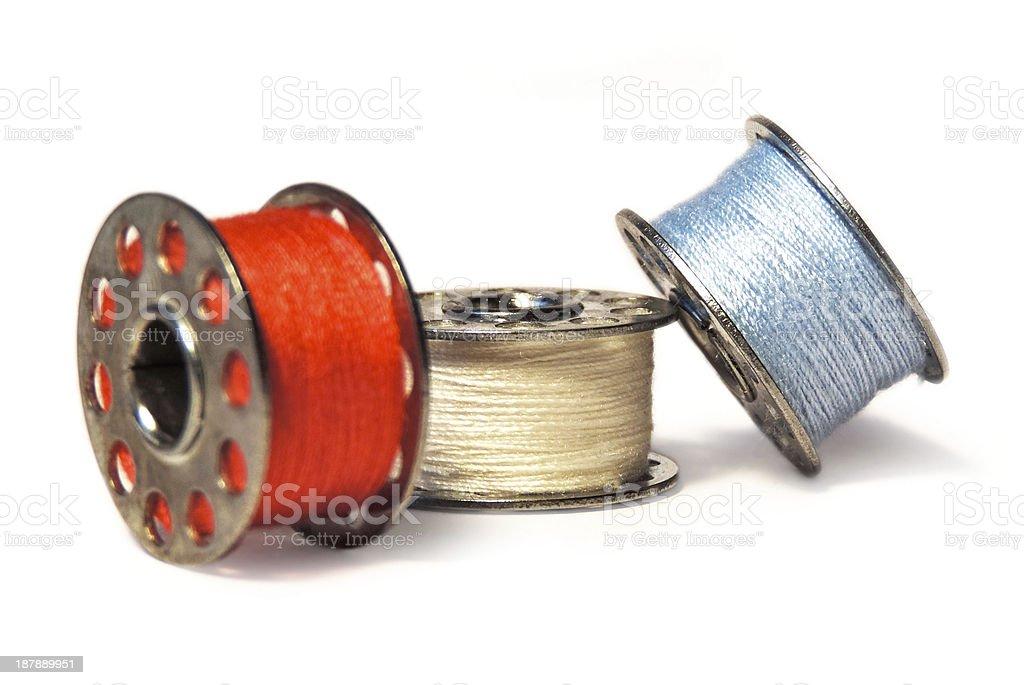 sewing bobbins stock photo