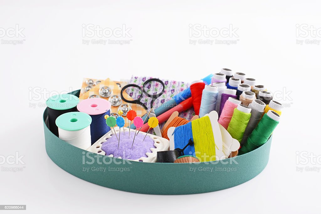 Sewing box stock photo