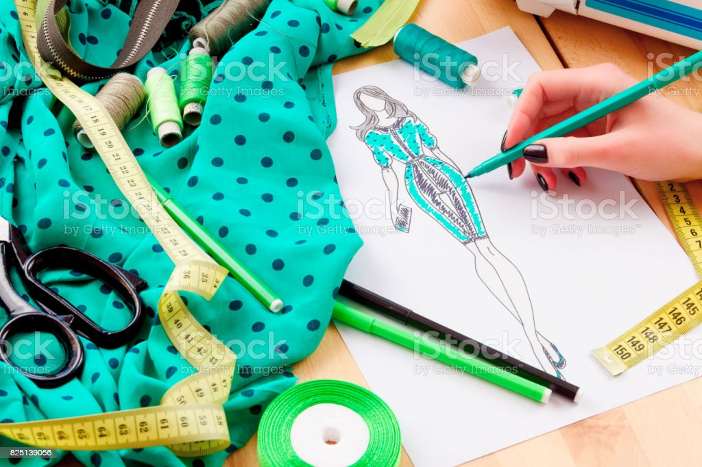 Sewing concept. Dressmaker stock photo