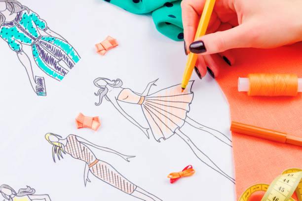 notion de couture. couturière - croquis de stylisme de mode photos et images de collection