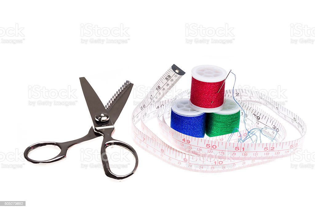 Sewing Equipment on a White Background stock photo