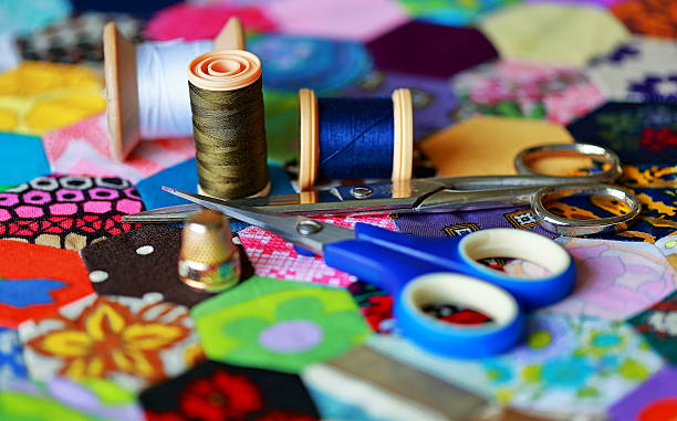 sewing equipment - seam stock photos and pictures