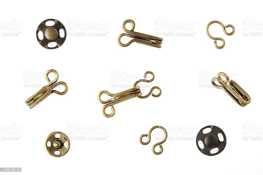 Sewing Hooks Eyes And Snap Fasteners In Brass Stock Photo