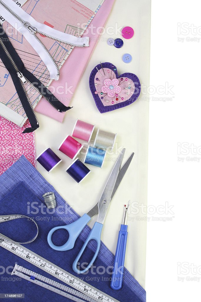 Sewing items border, with copy space royalty-free stock photo