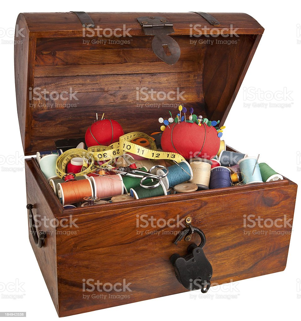 sewing items Treasure Chest stock photo