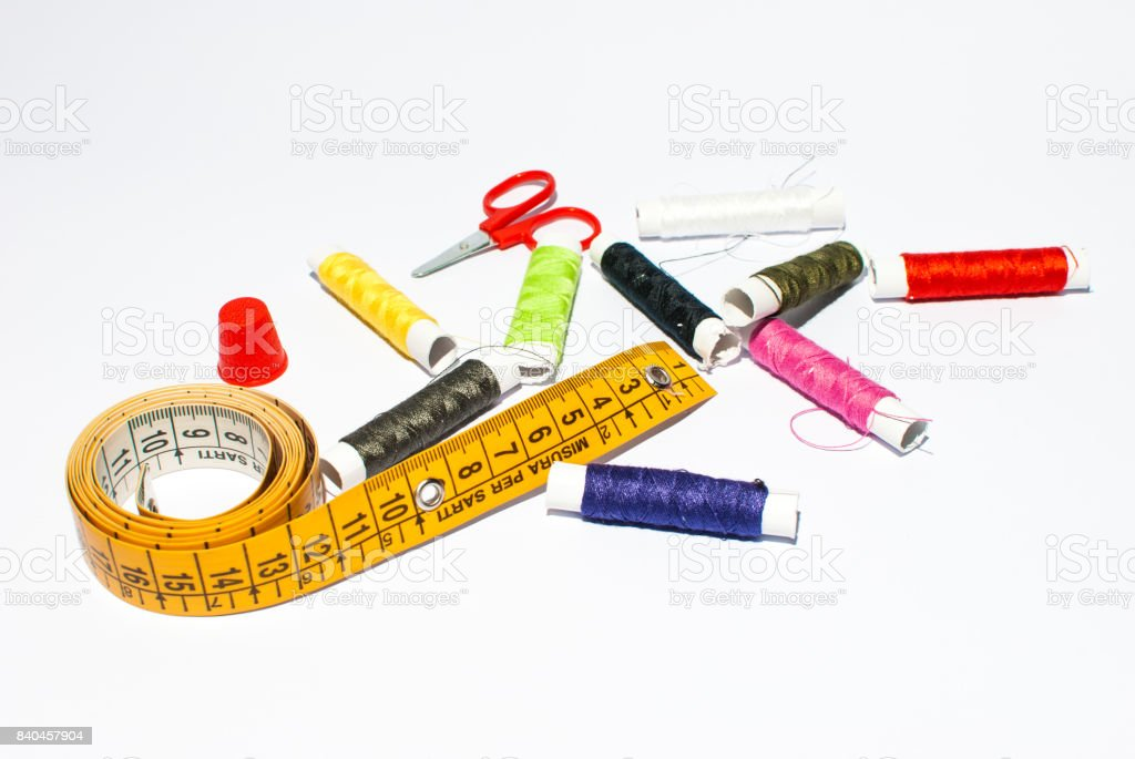 Sewing kit on a white background stock photo