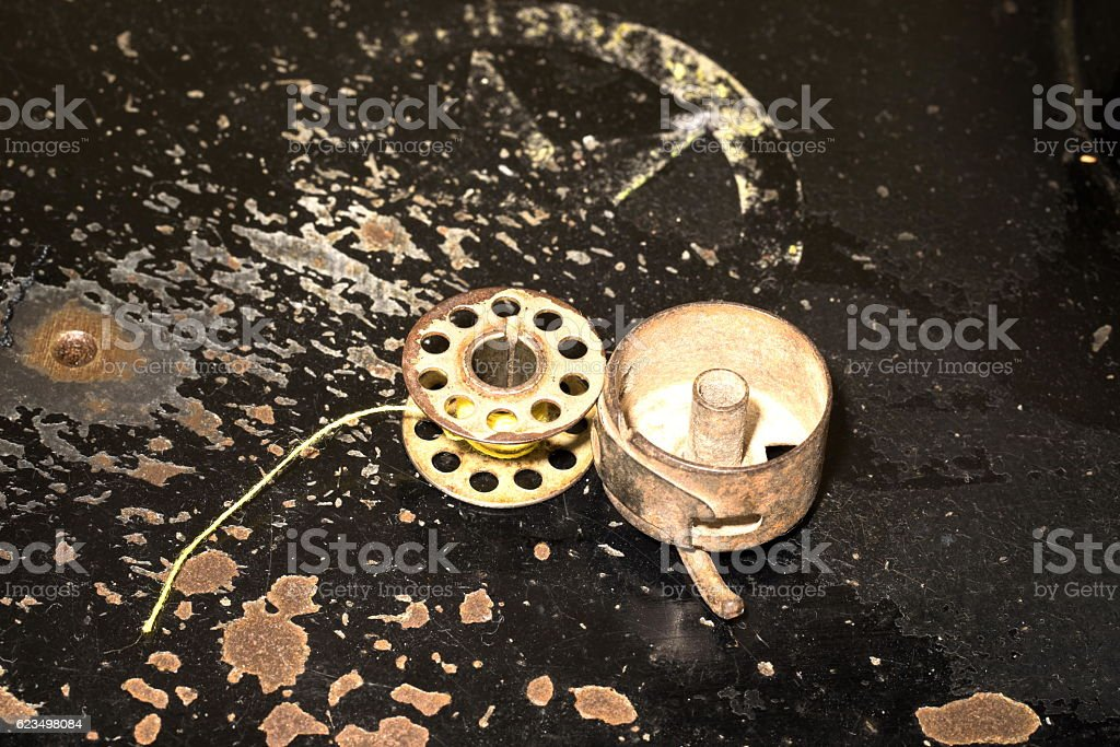 Sewing Machine Bobbin stock photo