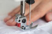 Sewing machine, close-up.