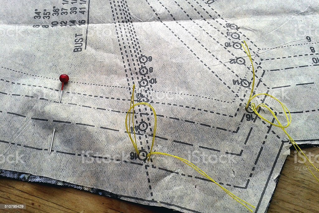 Sewing Patteren with dart marks and pin stock photo