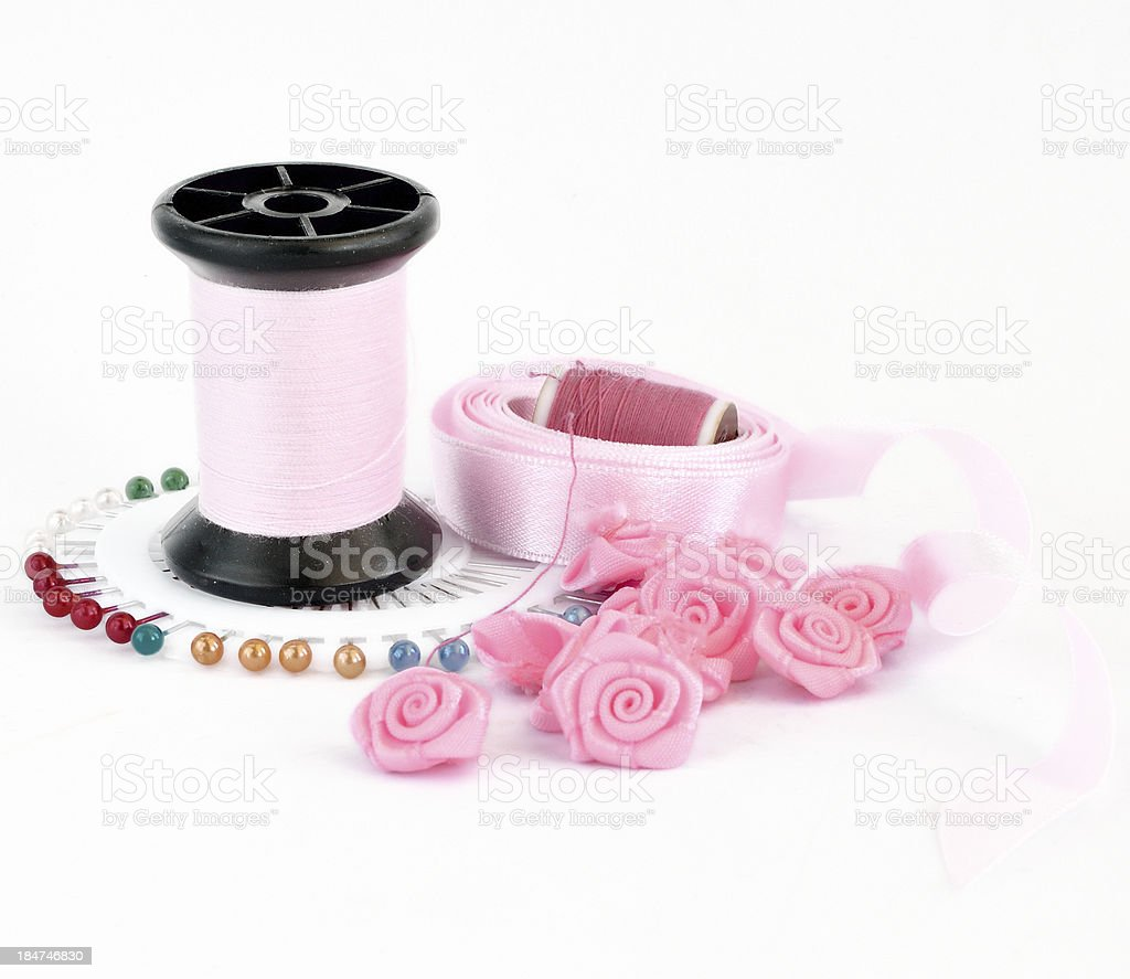 Sewing pink accessories royalty-free stock photo