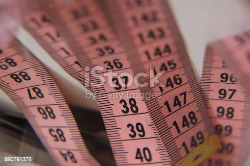 istock Sewing pink meter 990291376