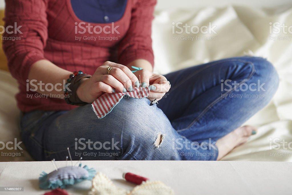 Sewing process. royalty-free stock photo