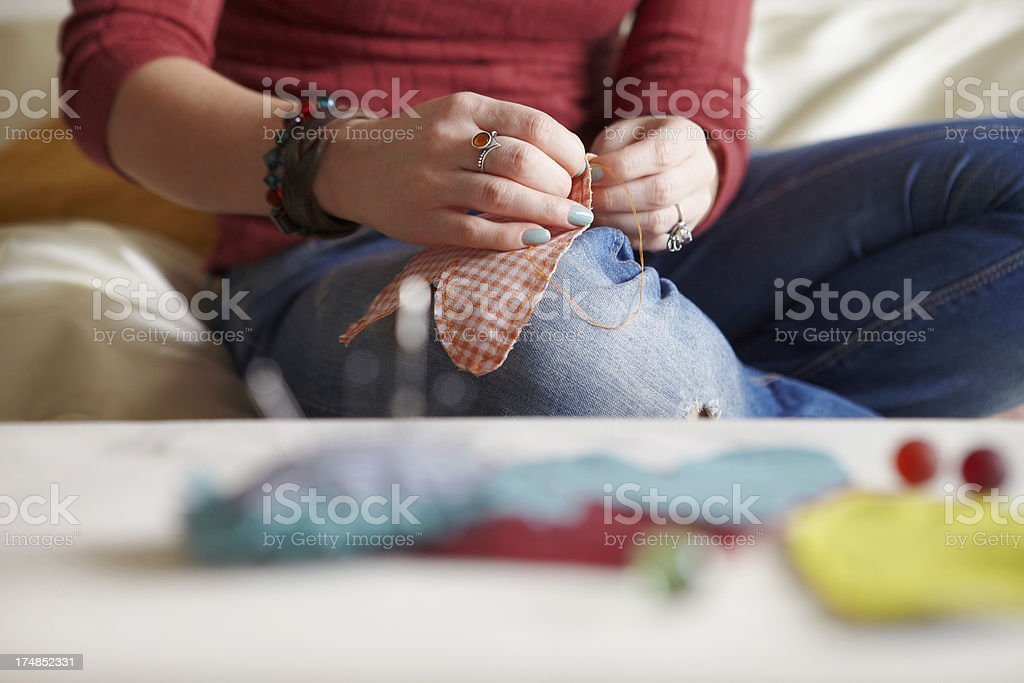 Sewing process. royalty-free stock photo