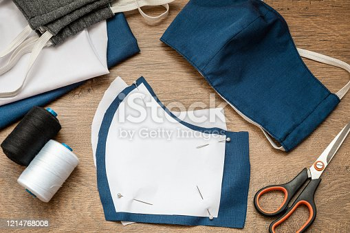 Sewing protective face masks at home during a covid-19 pandemic