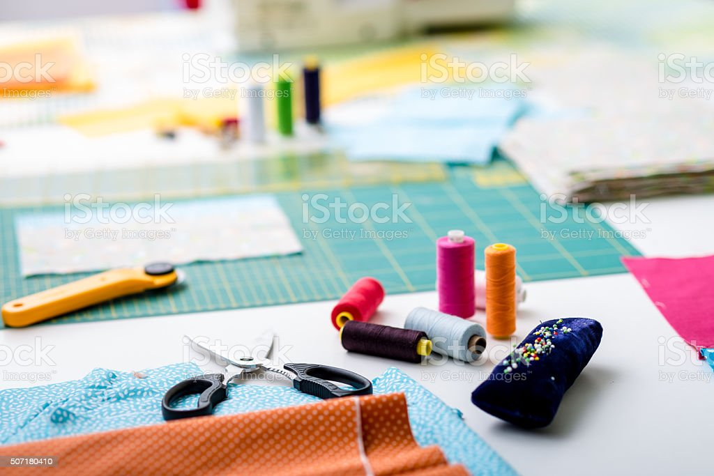 Sewing quilt stock photo