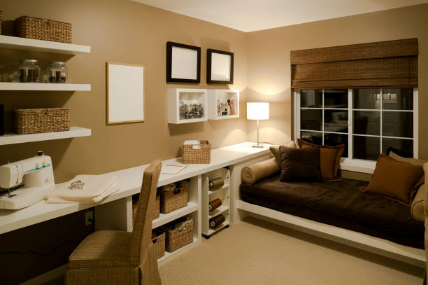 sewing room basement house home interior stock photo