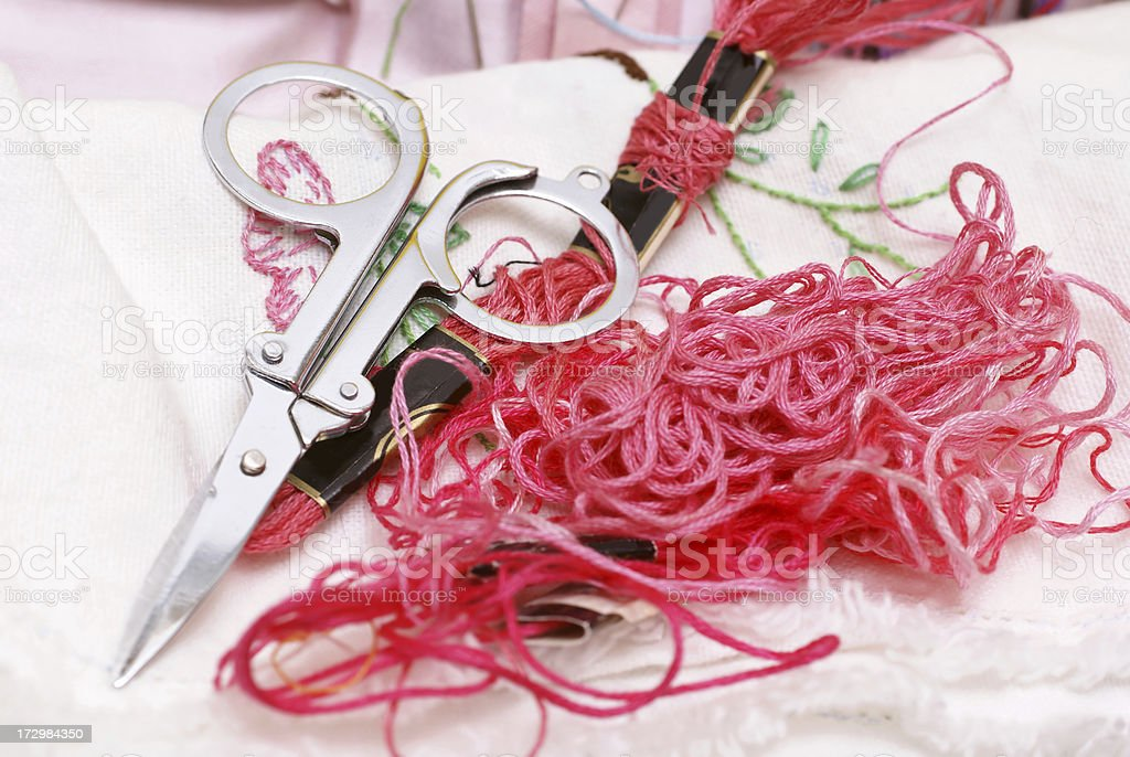 sewing supplies and project royalty-free stock photo