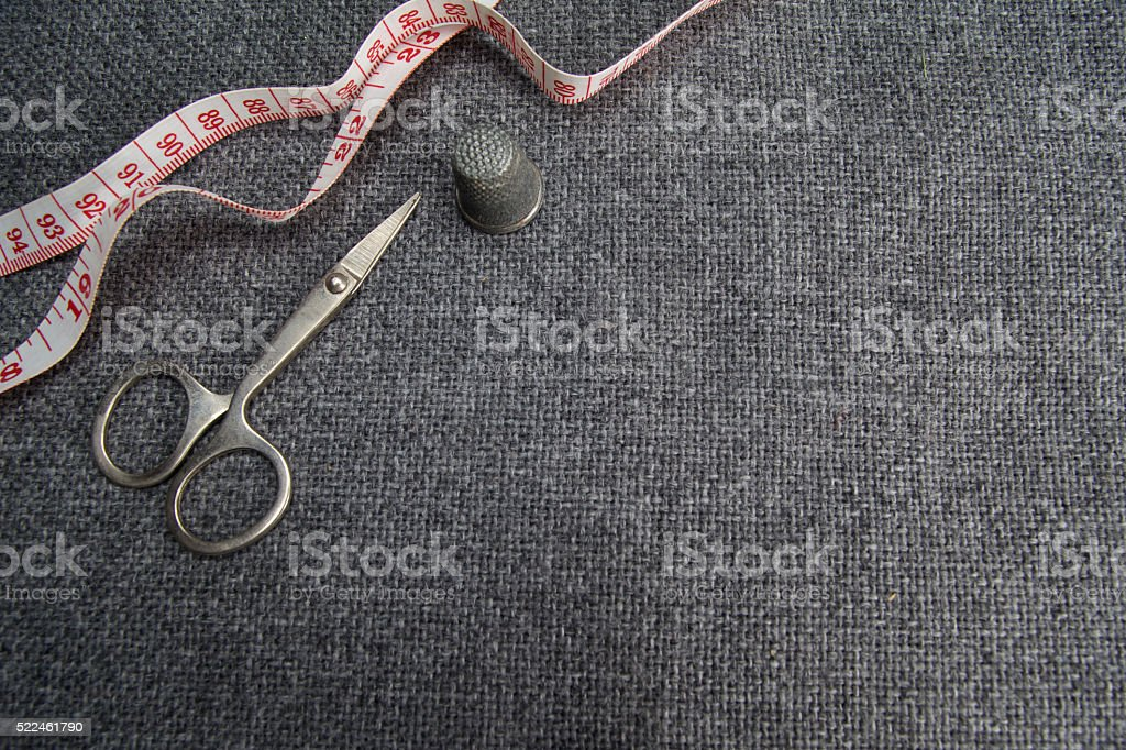Sewing supplies on the fabric stock photo