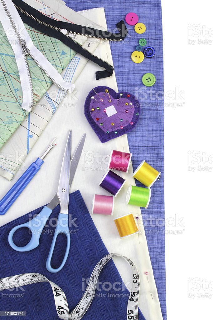 Sewing supplies, with copy space royalty-free stock photo