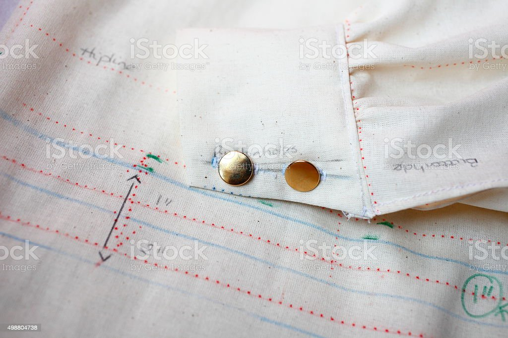 sewing, the process of dress making stock photo