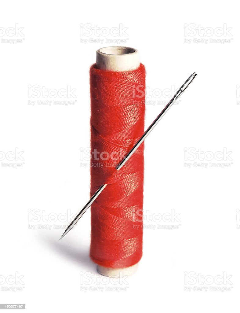 Sewing Thread an needle stock photo