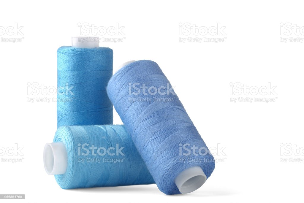 sewing thread on white background for designers stock photo