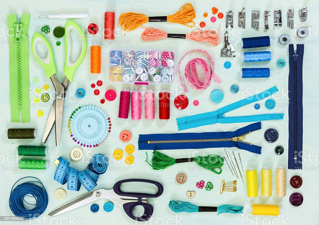 Sewing tool and accessories. Top view. stock photo