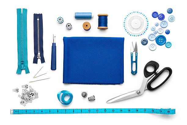 Sewing Tools and Accessories Overhead view of sewing tools and accessories stitching stock pictures, royalty-free photos & images