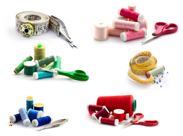 sewing tools collection. isolated on white - embroidery machine stock pictures, royalty-free photos & images