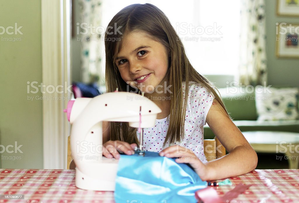 Sewing with a smile stock photo
