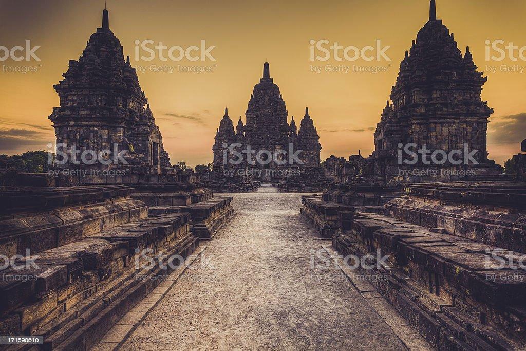 Sewu Buddist Temple in Java, Indonesia stock photo