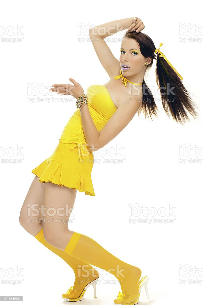 sex girl in a yellow dress royalty-free stock photo