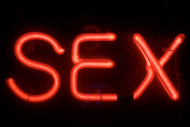 Sex Message in Red Neon Sign stock photo