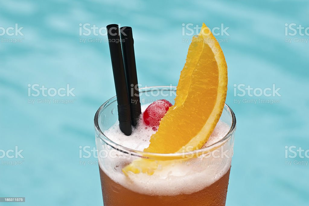 Sex On The Beach popular cocktail near waterpool close up stock photo