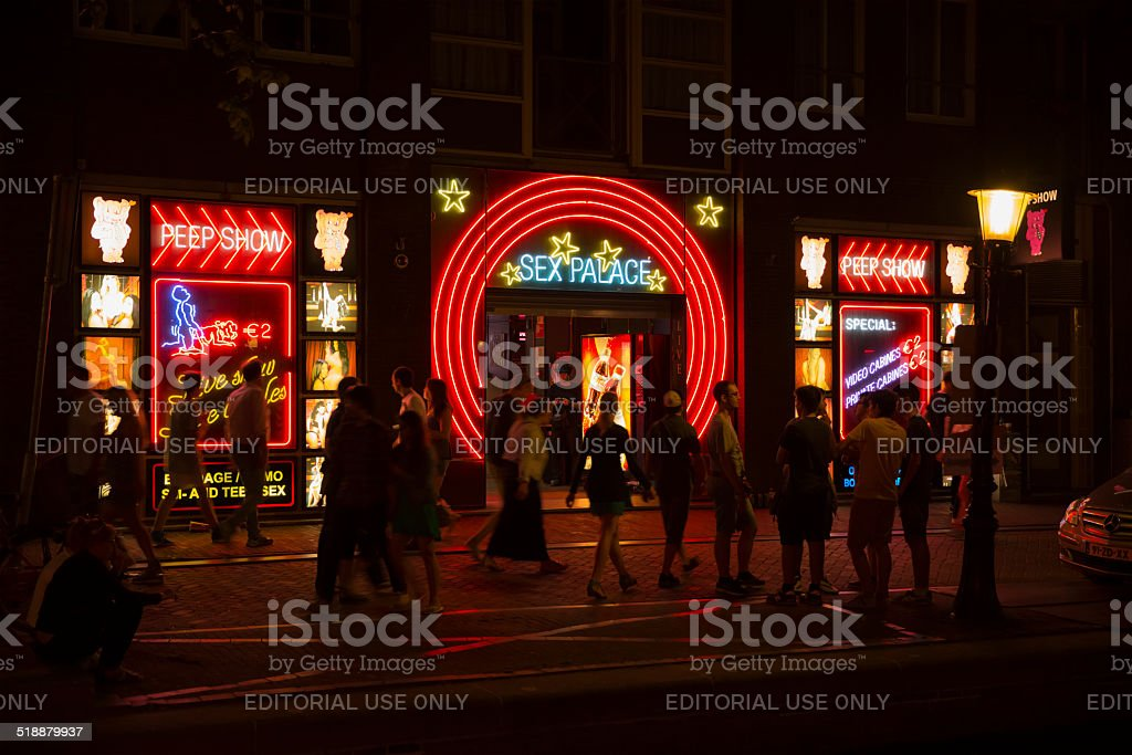 'Sex palace' in Red light district in Amsterdam stock photo