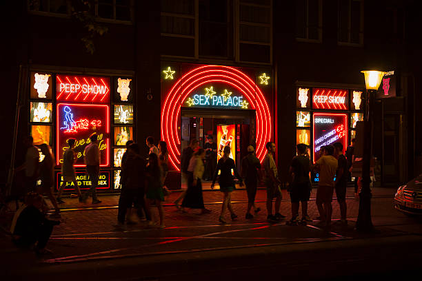 """""""Sex palace"""" in Red light district in Amsterdam stock photo"""