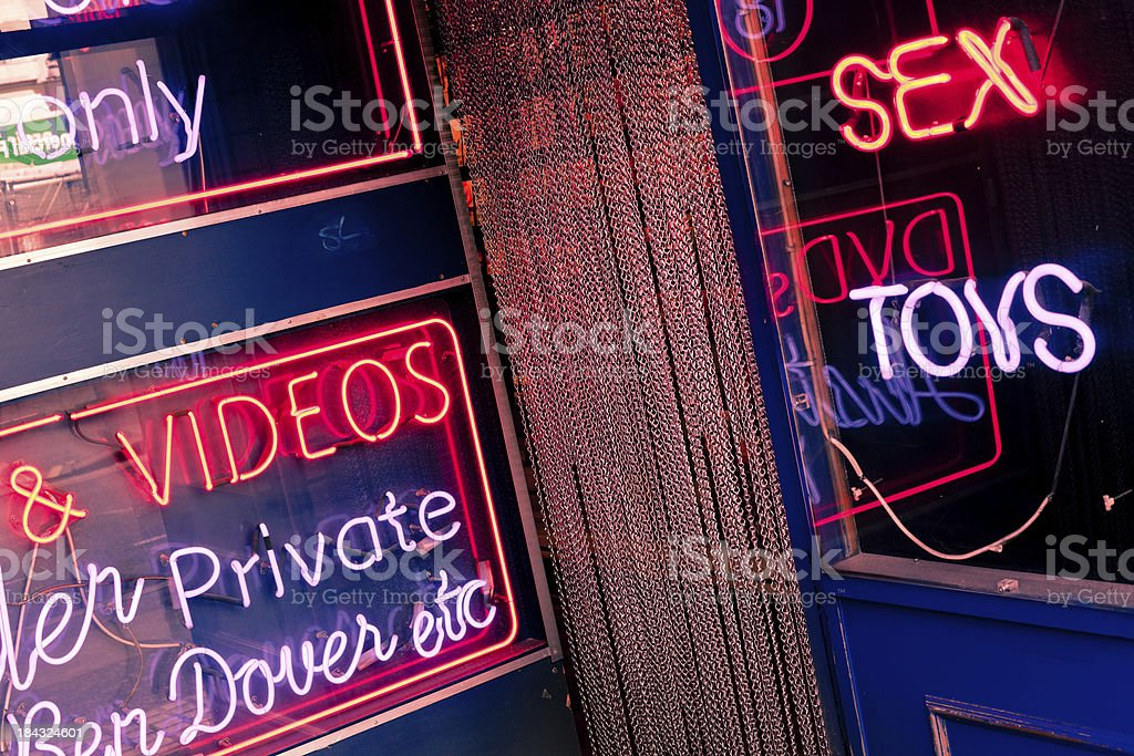 Sex Shop in Soho, London Red Light District stock photo