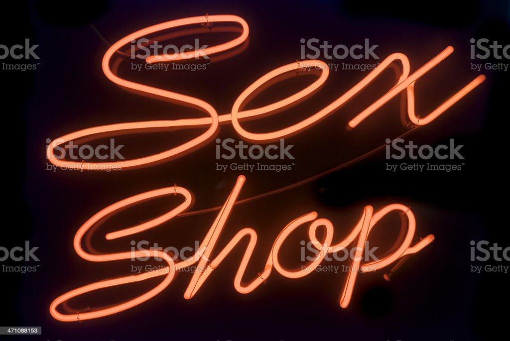 Sex Shop Señal de luz de neón rojo distrito - foto de stock