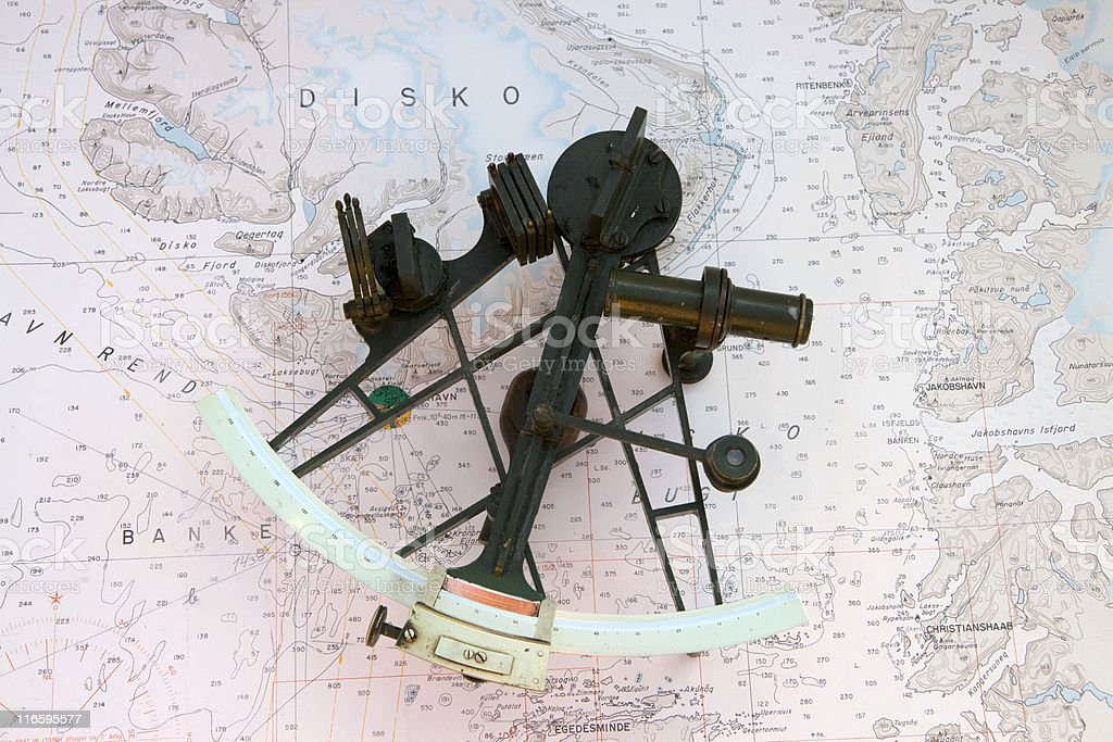 Sextant on a Chart stock photo