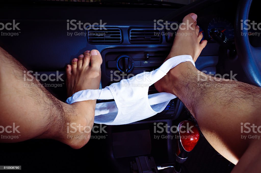 sexual activities in car at night stock photo