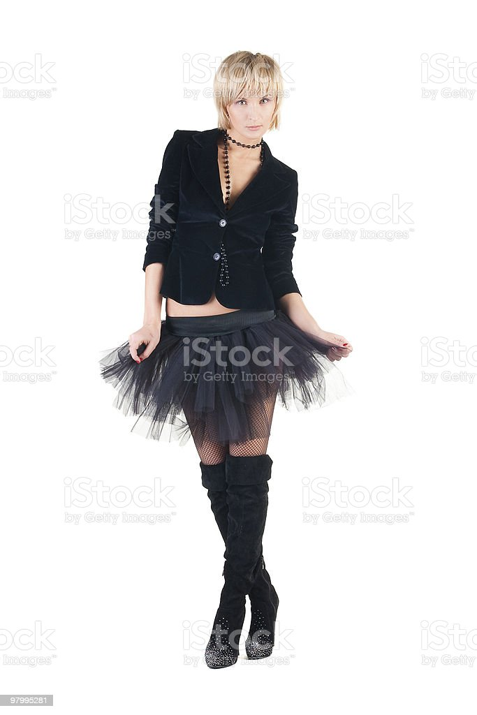 sexual blond woman in short skirt. royalty free stockfoto