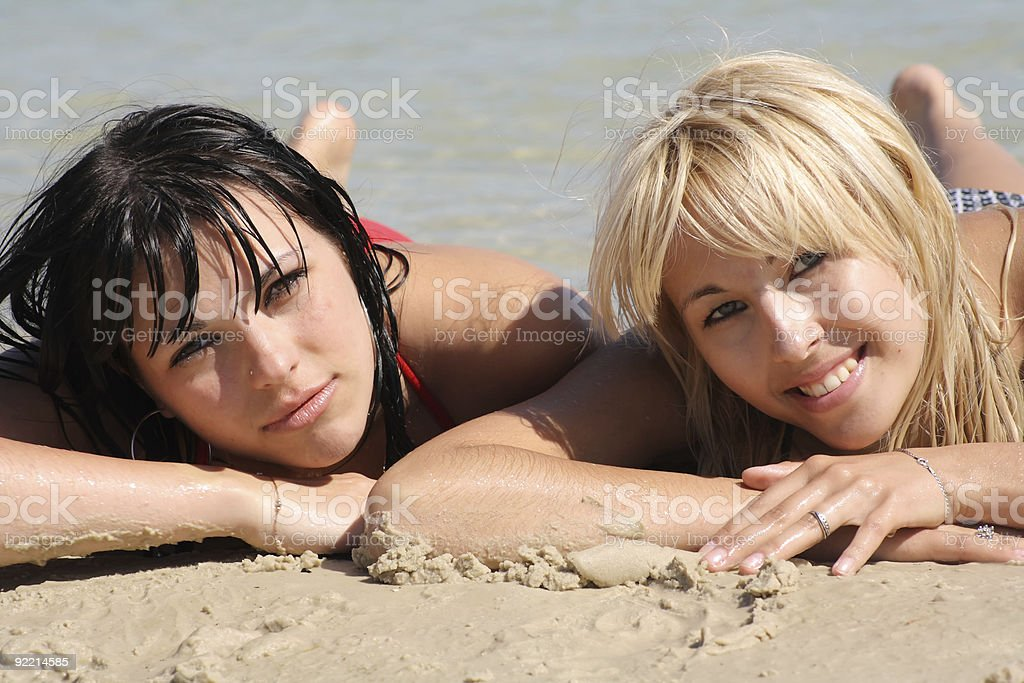 sexual blonde with brunette royalty-free stock photo