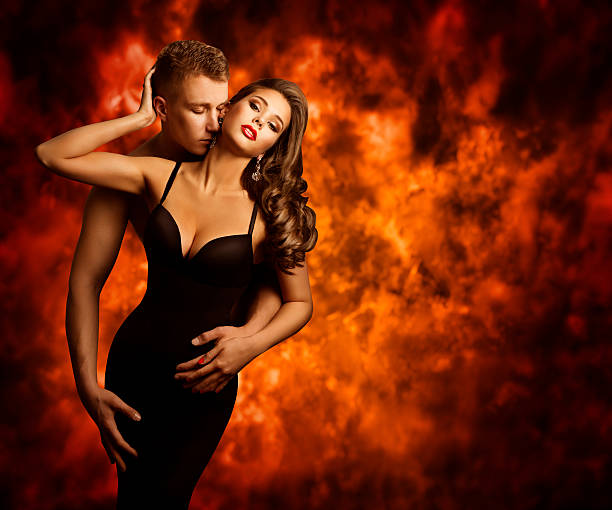 Sexual Couple, Passion Man Kiss Sensual Woman, Love Flame stock photo