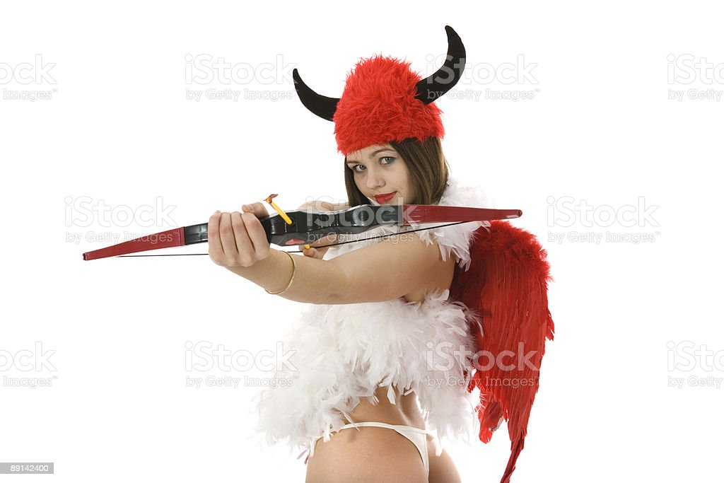Sexual devil Kupedon with bow royalty-free stock photo