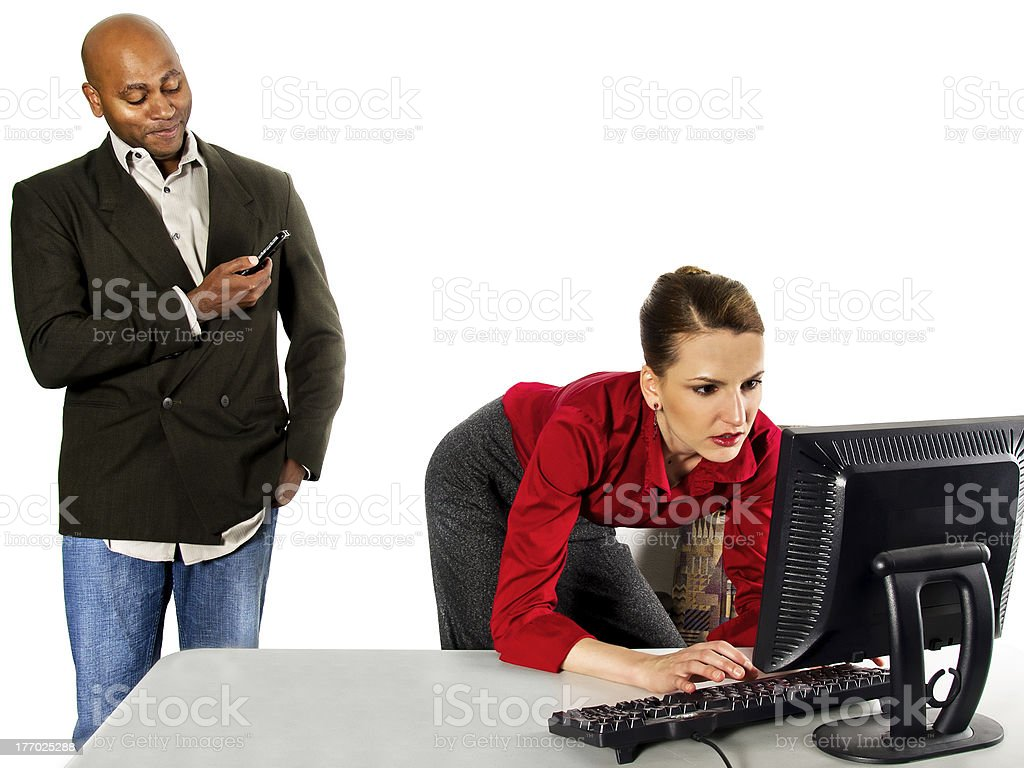 Sexual Harassing a Female with a Hidden Camera Phone royalty-free stock photo