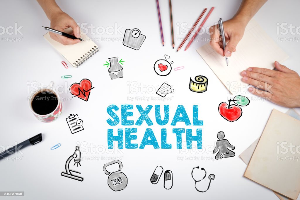 Sexual Health concept. Healty lifestyle background. The meeting at the white office table stock photo